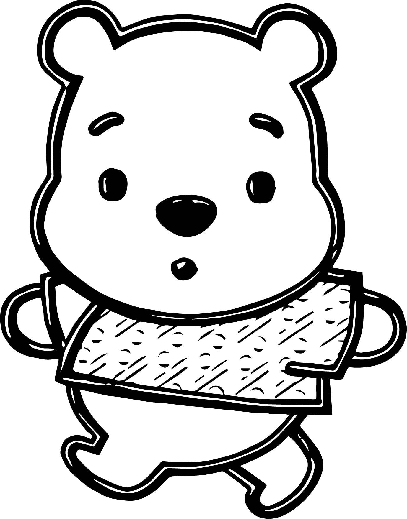 1378x1760 Baby Pooh Chibi Walking Coloring Page Wecoloringpage