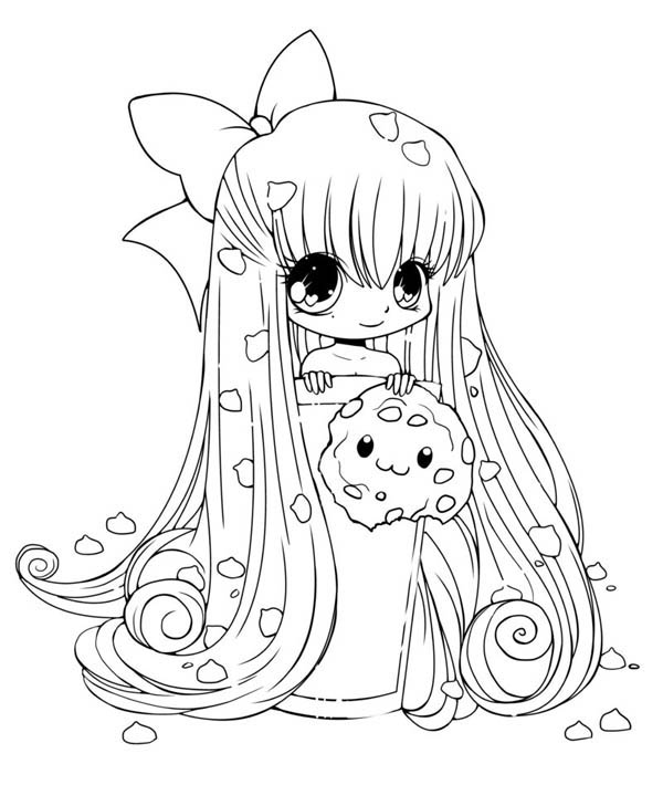 600x710 Cute Cookie Chibi Drawing Coloring Page