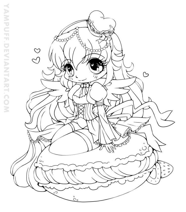 736x838 Yampuff Food Chibi Girls Coloring Pages Crafts