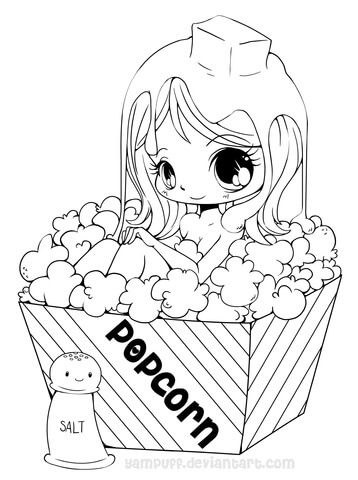 358x480 Chibi Popcorn Girl Coloring Page From Anime Girls Category Select