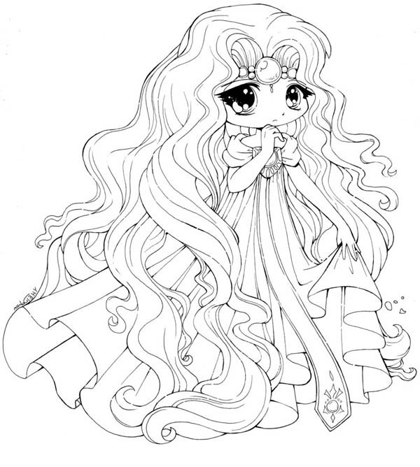 600x668 Princess Emeraude Chibi Draw Coloring Page