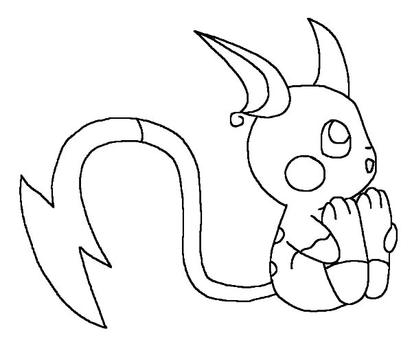 600x498 Chibi Pokemon Raichu Coloring Pages