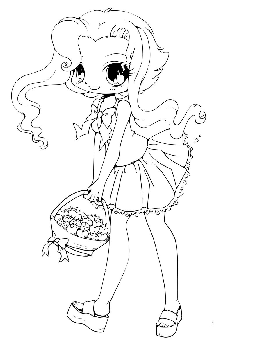 877x1185 Chibi Wolf Girl Coloring Pages Download