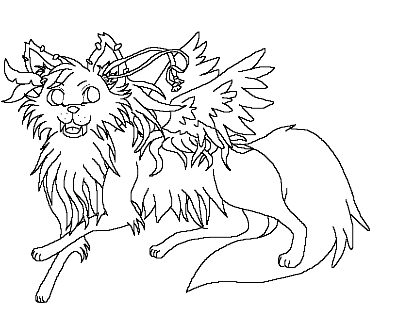 820x666 Winged Wolves Coloring Pages