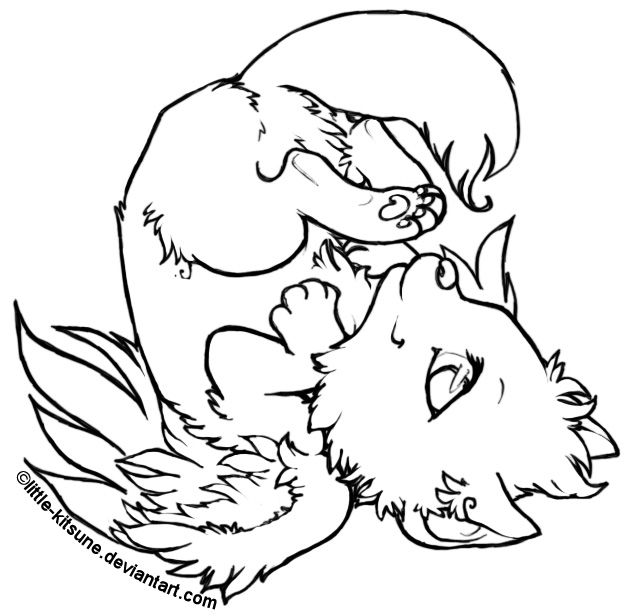 635x616 Winged Wolf Cub Lineart