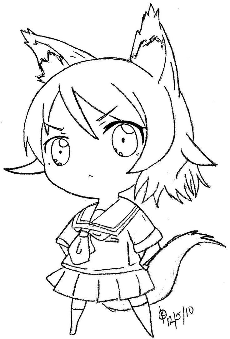 736x1085 Chibi Tsundere Wolf Line Art