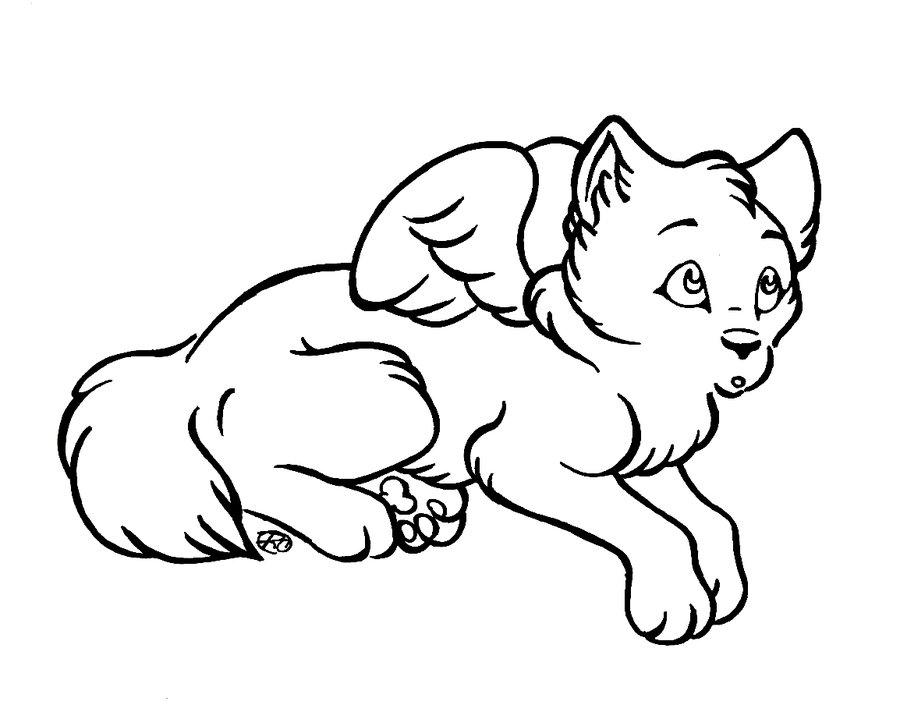 900x719 Chibi Winged Wolf Lineart