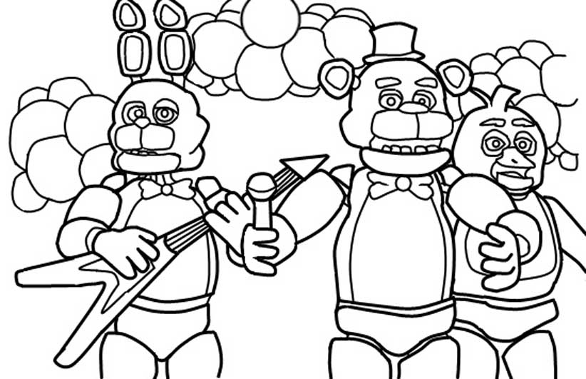 822x531 Modern Ideas Five Nights Freddy's Coloring Pages Five Nights