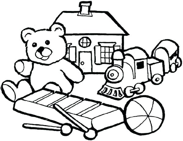600x462 Toy Coloring Pages Group Of Little Kids Toys Coloring Pages Five