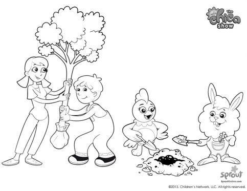 483x373 Sprouts Chica Show Coloring Page Plants A Tree
