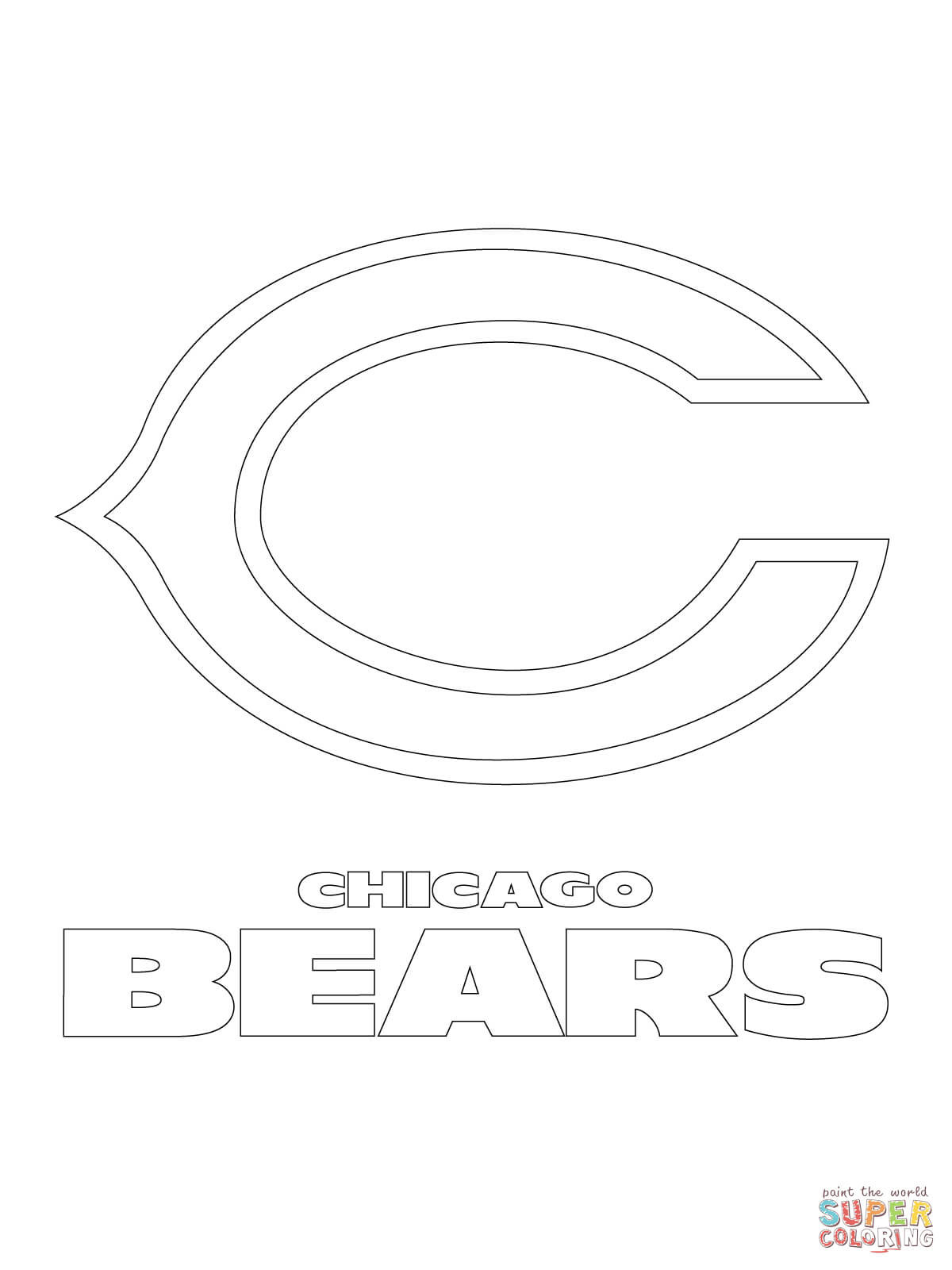 1200x1600 Chicago Bears Logo Coloring Page Skyline Pages