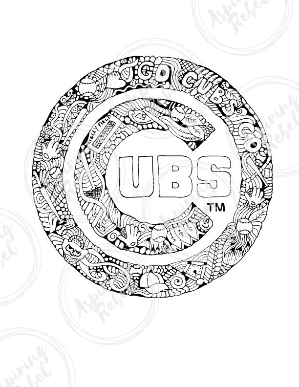 612x792 Chicago Cubs Doodle Coloring Page
