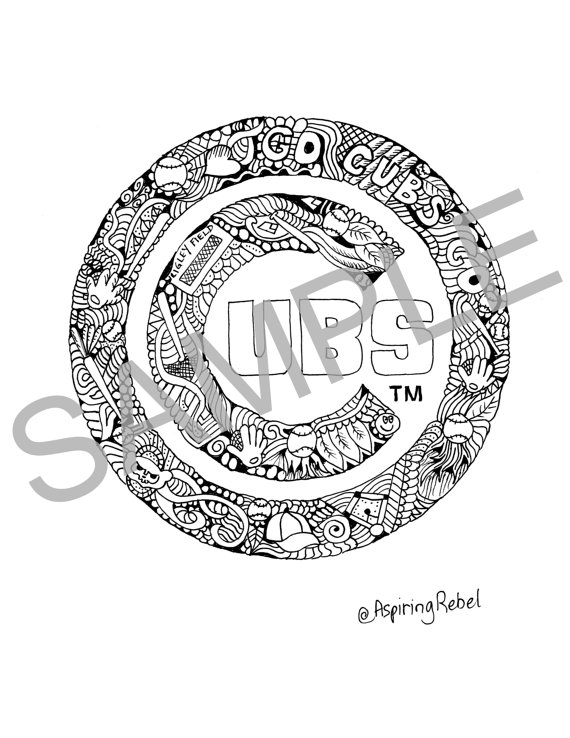 570x738 Chicago Cubs Doodle Coloring Page Adult Coloring Page Sports
