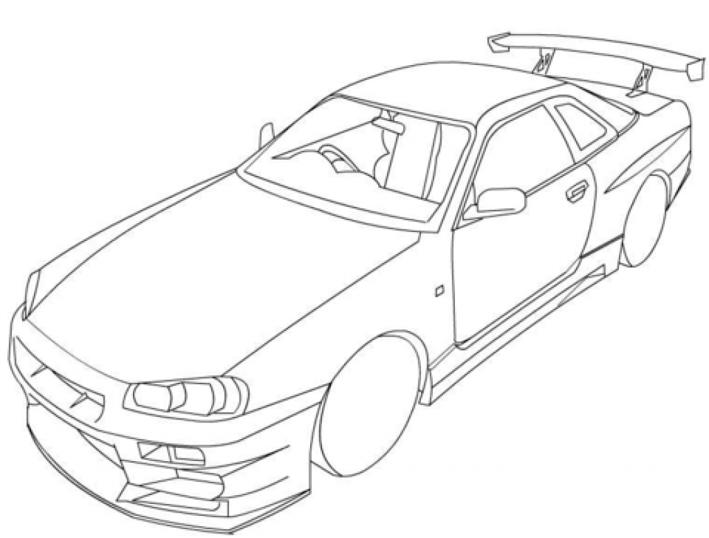 1024x777 Nissan Gtr Clipart Printable Skyline Coloring Page Adult Pictures