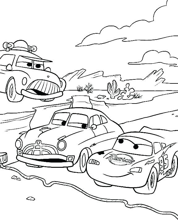576x712 Chick Hicks Coloring Page Track Race Cartoon Car Coloring Page