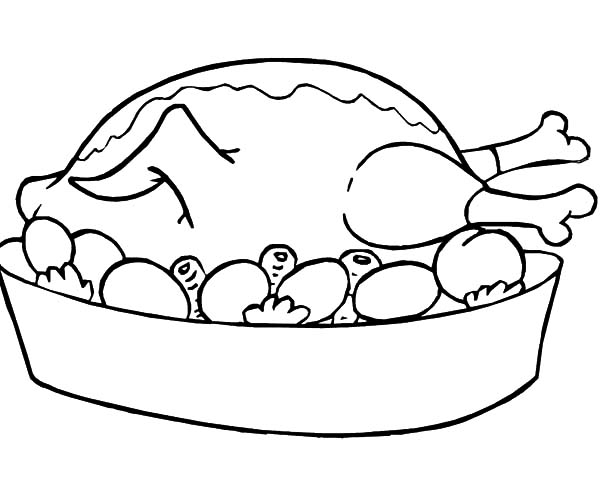 600x478 Greek Food Coloring Pages Chicken Complete With Chicken Drumstick