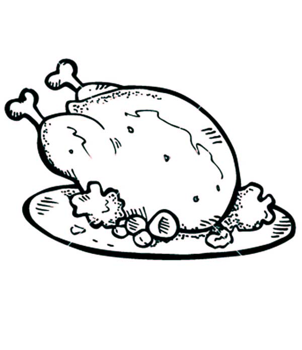 600x695 Well Cooked Roasted Chicken With Drumstick Coloring Pages