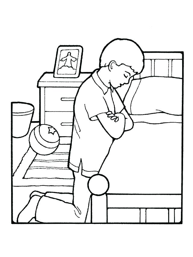 640x853 Child Praying Coloring Page Two Children Doing Lords Prayer