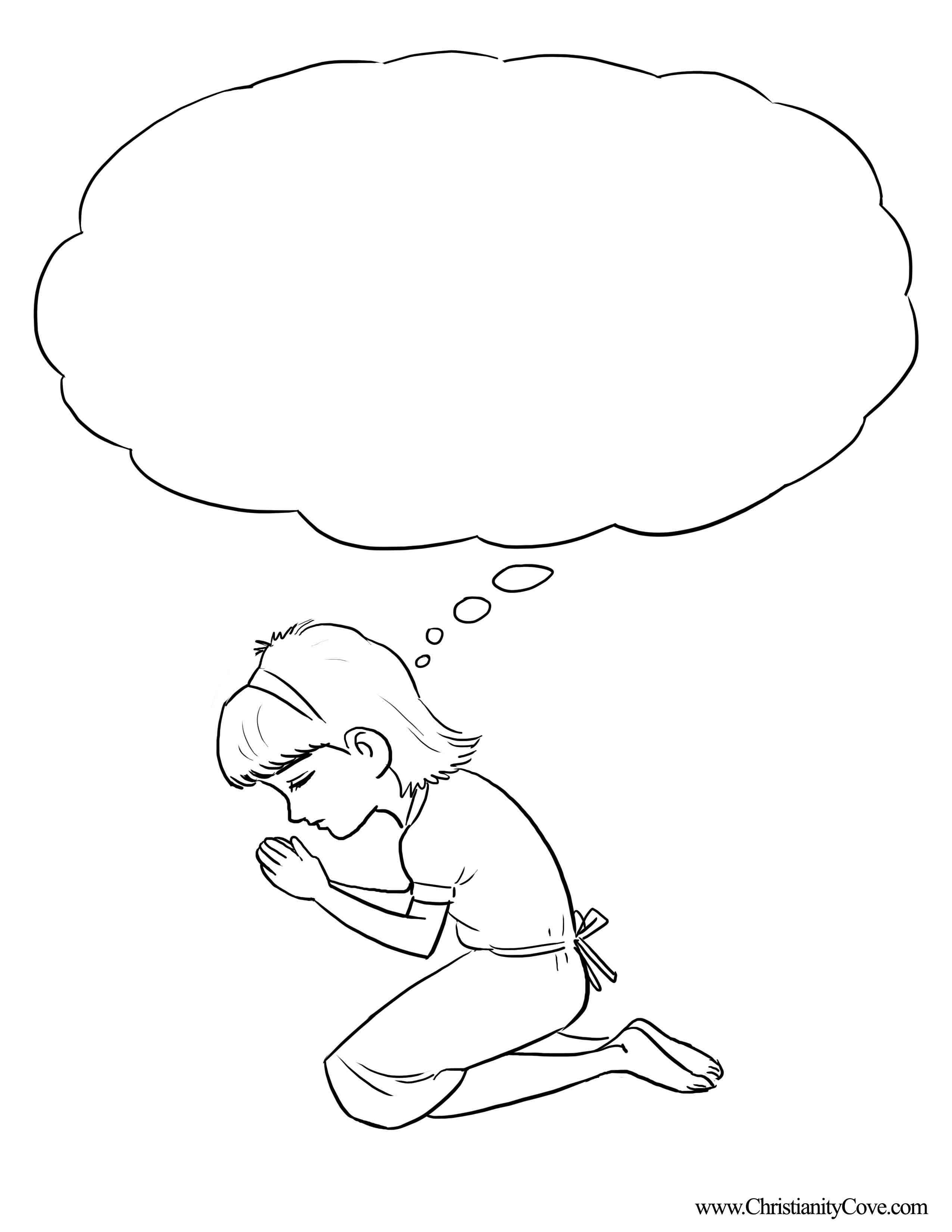 2550x3300 Interesting Child Praying Coloring Page Drawin