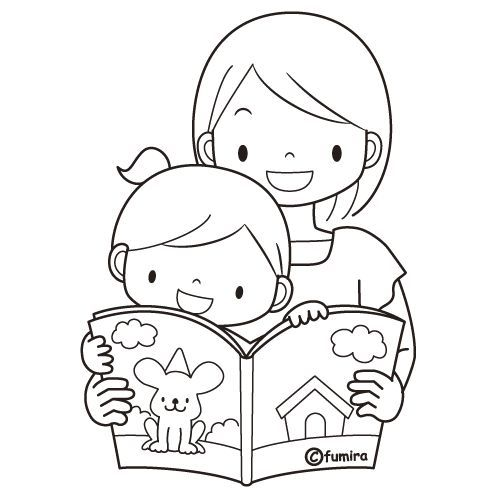 Child Reading Coloring Page