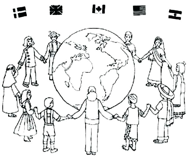 600x502 Children Of The World Coloring Pages Children All Around The D