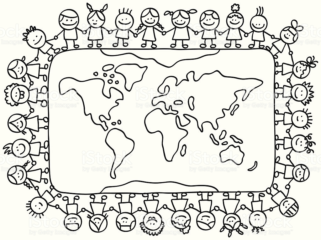 Globe clipart black and white kids | Coloring pages, Around the ... | 767x1024