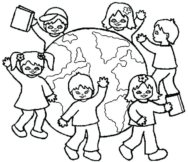 600x519 World Coloring Page Children Of The World Coloring Pages World