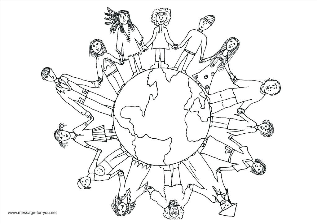 1023x724 World Map Coloring Page Children Around The World Coloring World