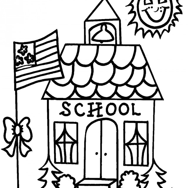 640x640 Coloring Sheets School Epic School House Coloring Page