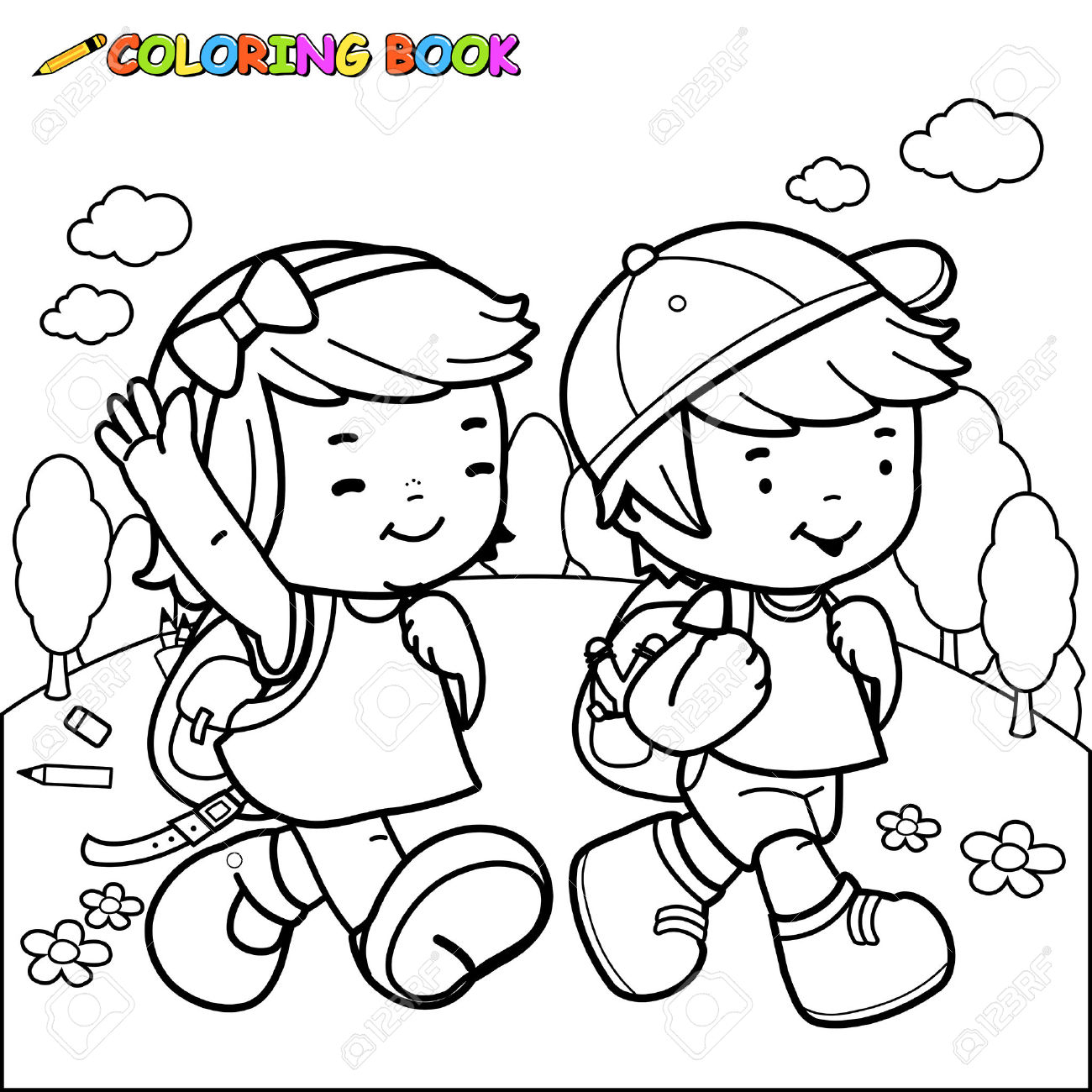 1300x1300 Drawing Of Child Going To School Coloring Pages Printable Awesome
