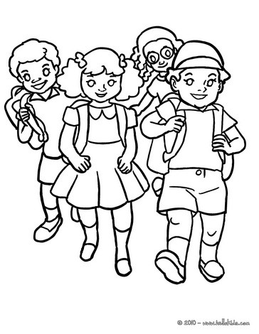364x470 Friends Hugging In The School Yard Coloring Pages