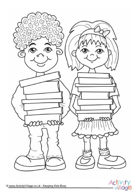 460x653 Children With Books Colouring Page Coloring Pages