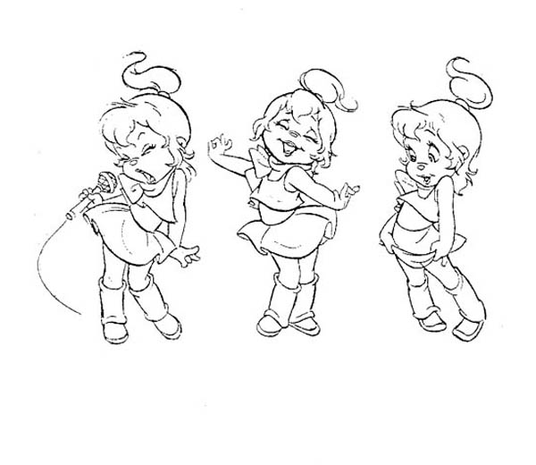 600x520 The Chipettes Singing And Dancing Coloring Page