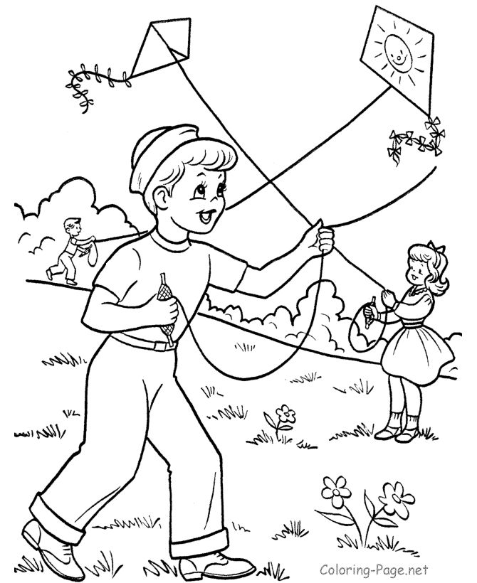 Children Flying Kites Coloring Pages