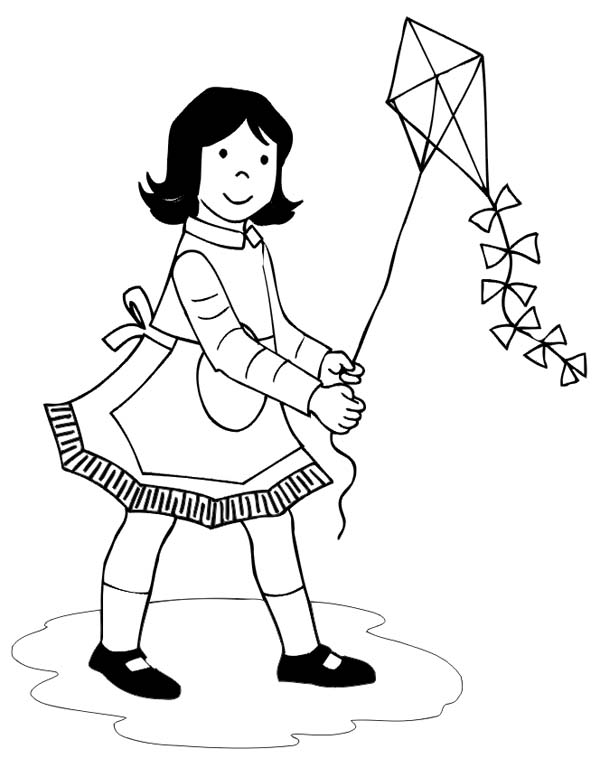 Children Flying Kites Coloring Pages At Getdrawings Com Free For