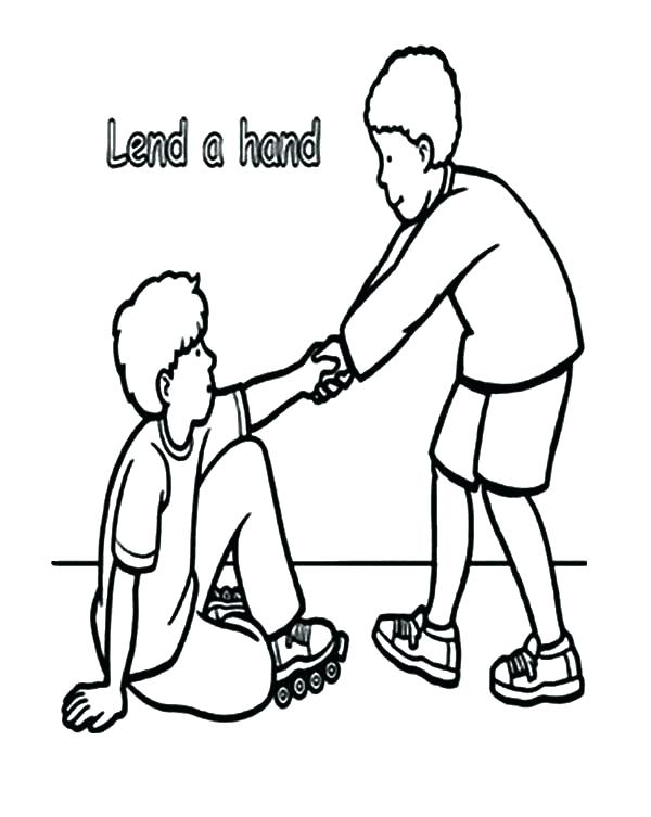 600x753 Helping Hands Coloring Page Helping Others Coloring Pages Helping