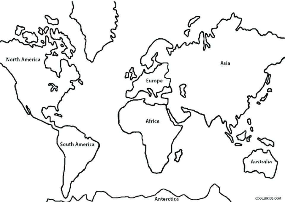 960x679 Map Of The World Coloring Page Free Simple World Map Coloring
