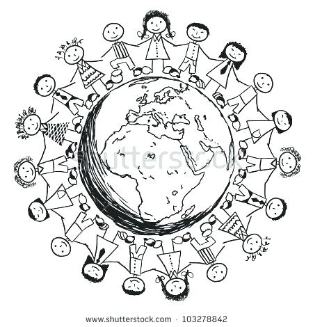 450x470 World Map Coloring Page Children Around The World Coloring World
