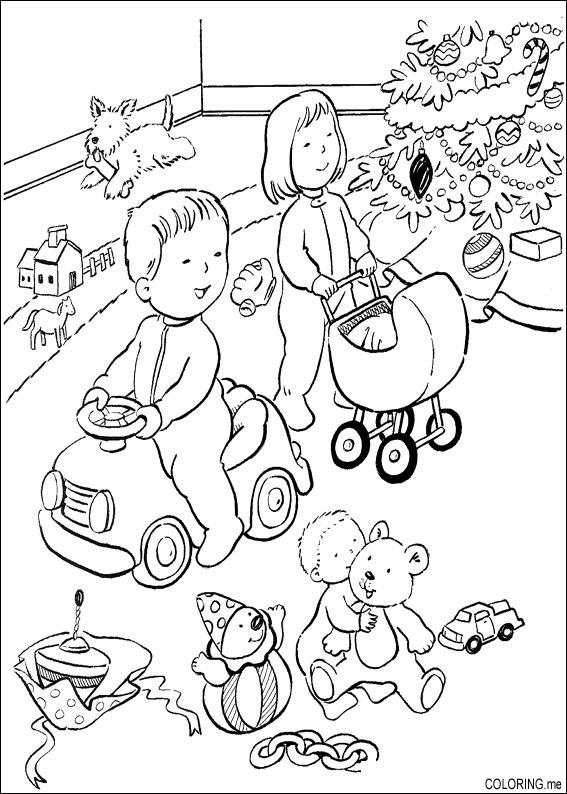 567x794 Coloring Page Christmas Children Are Playing