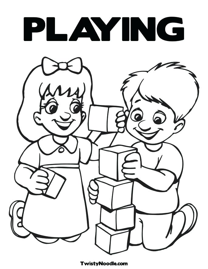 685x886 Friends Playing Coloring Pages Kids Playing Coloring Pages Home