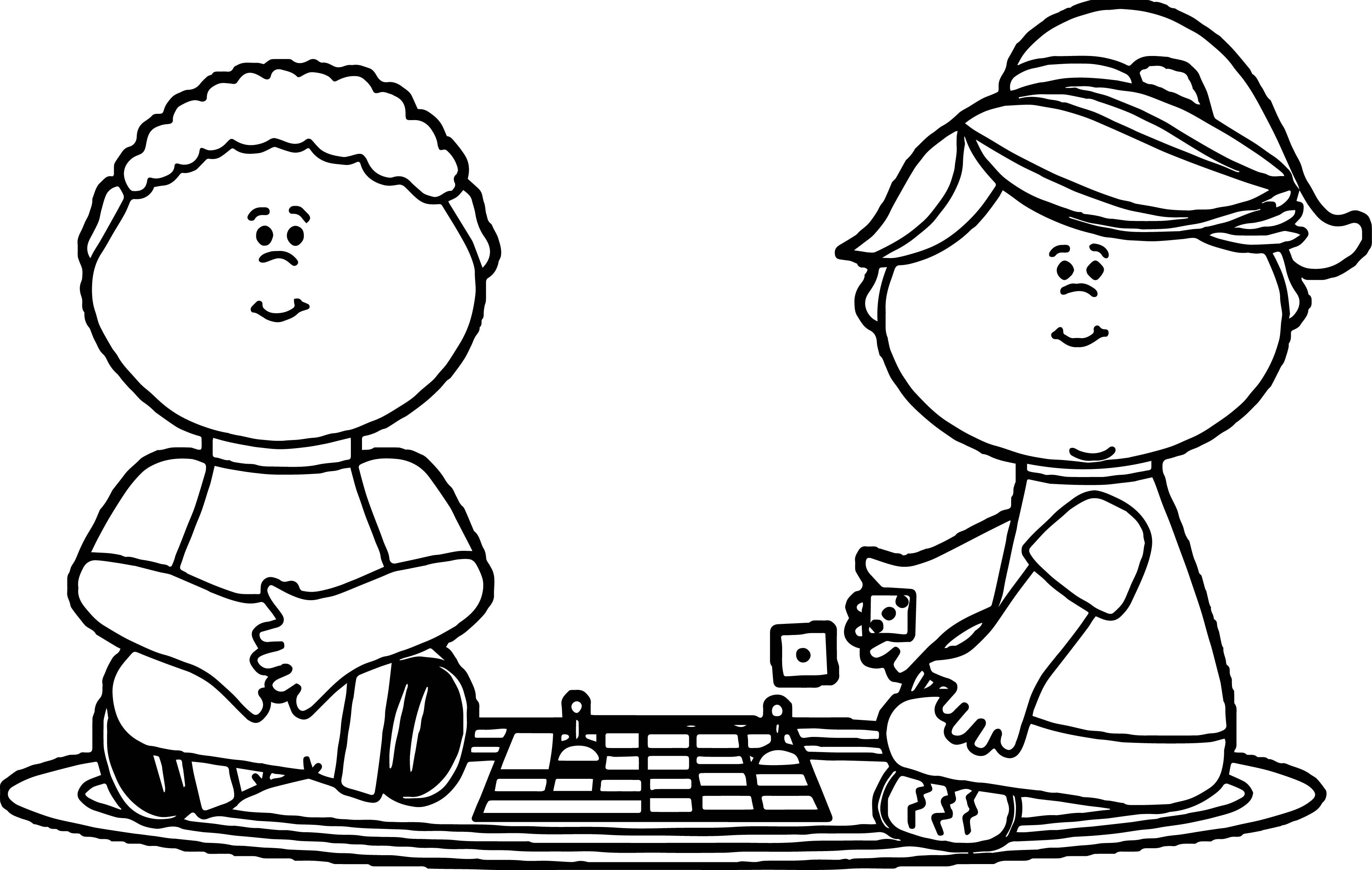 3703x2347 Kids Playing Board Games Coloring Page