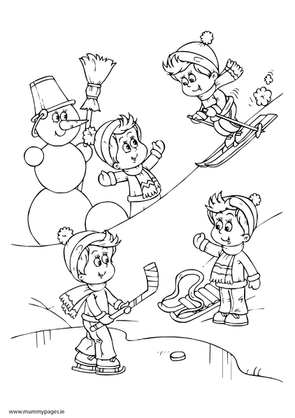 422x597 Children Playing In Snow Colouring Page Mummypages Mummypages Ie