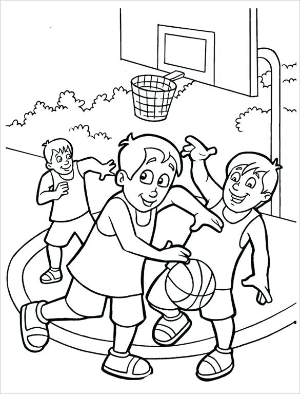 585x767 Coloring Page Kids Basketball Coloring Pages Free Word Format