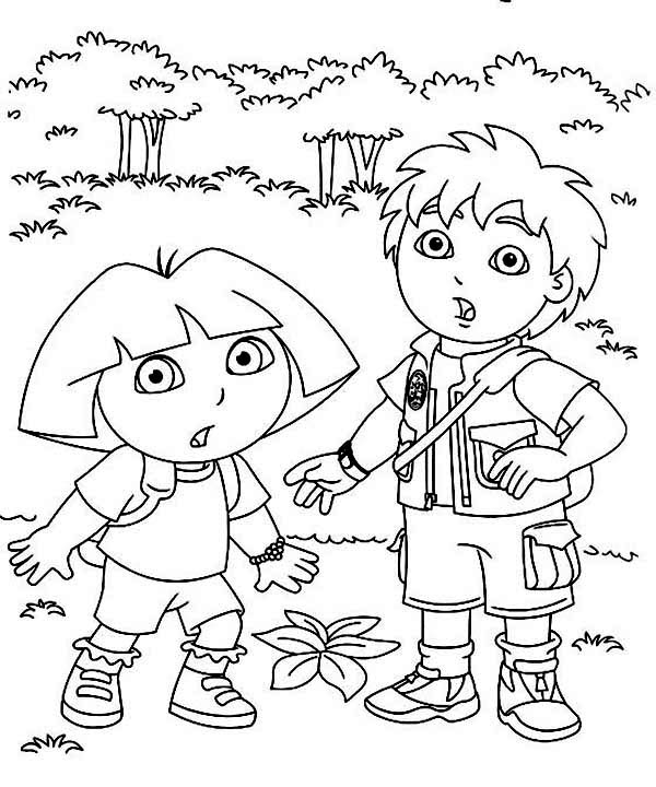 600x720 Diego And Dora The Explorer Run Coloring Page For Sweet Draw Image
