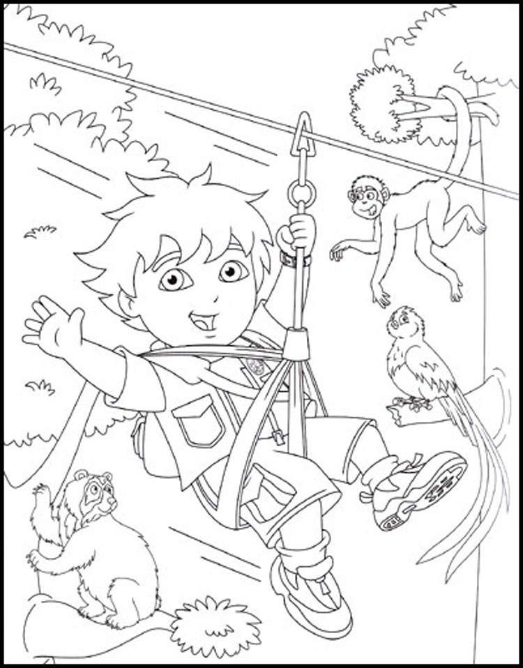 750x958 Free Printable Diego Coloring Pages For Kids