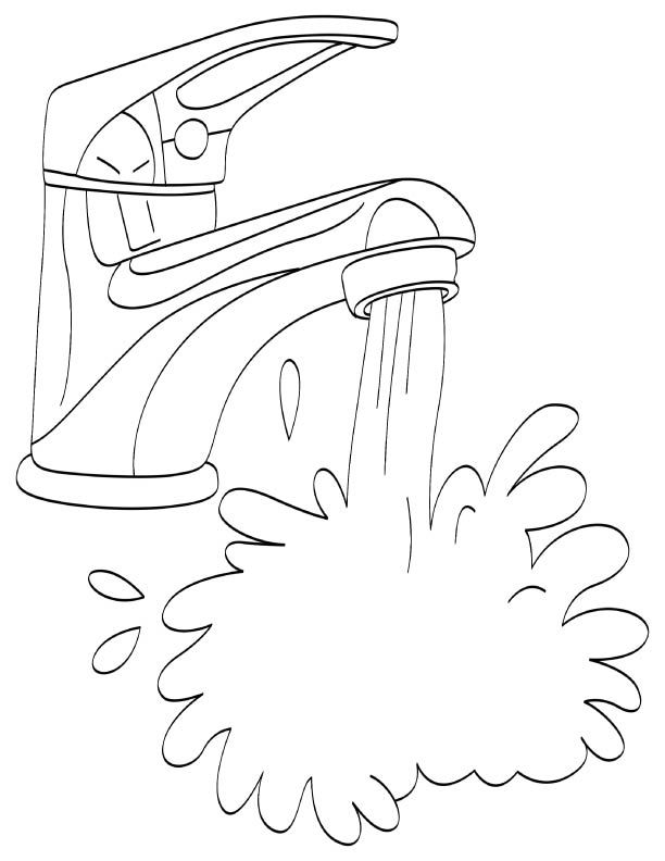 612x792 Running Water From Tap In Water Coloring Pages