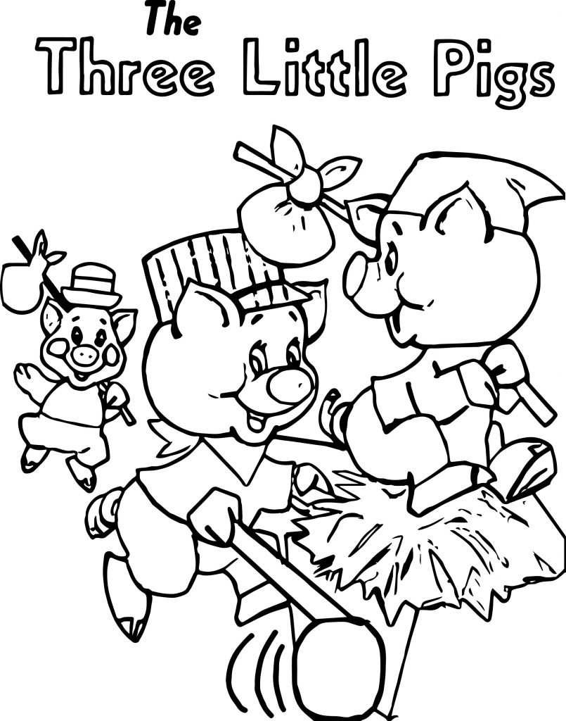805x1024 The Three Little Pigs Colouring Pages With Number Printable