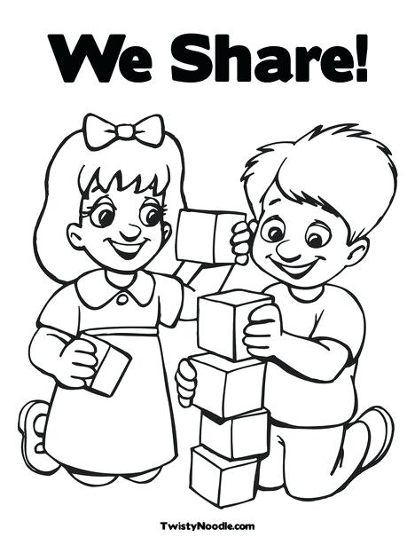 468x605 Interesting Sharing Coloring Page Sharing Coloring Pages Sharing