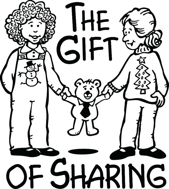 672x751 Sharing Coloring Page Children Sharing Coloring Pages Sharing