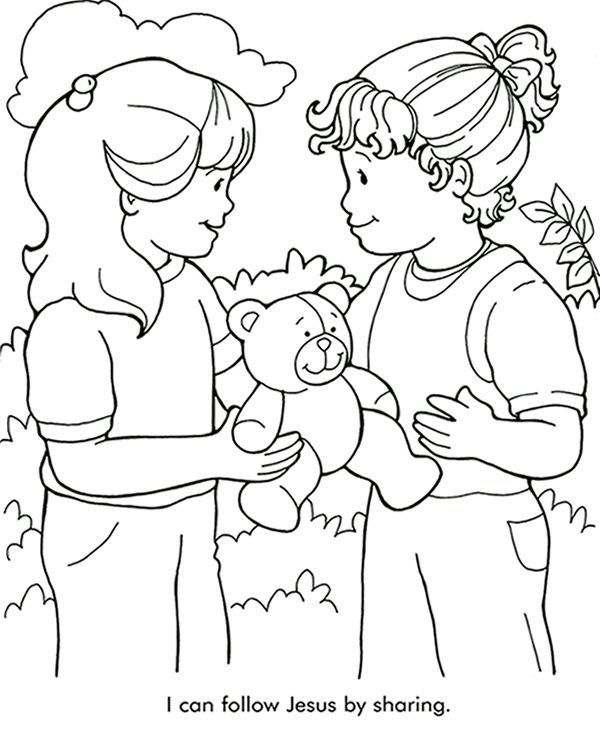 602x729 Sharing Coloring Page Sunday School Sunday School